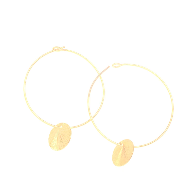 Gold Vermeil Disc Charm Hoop Earrings