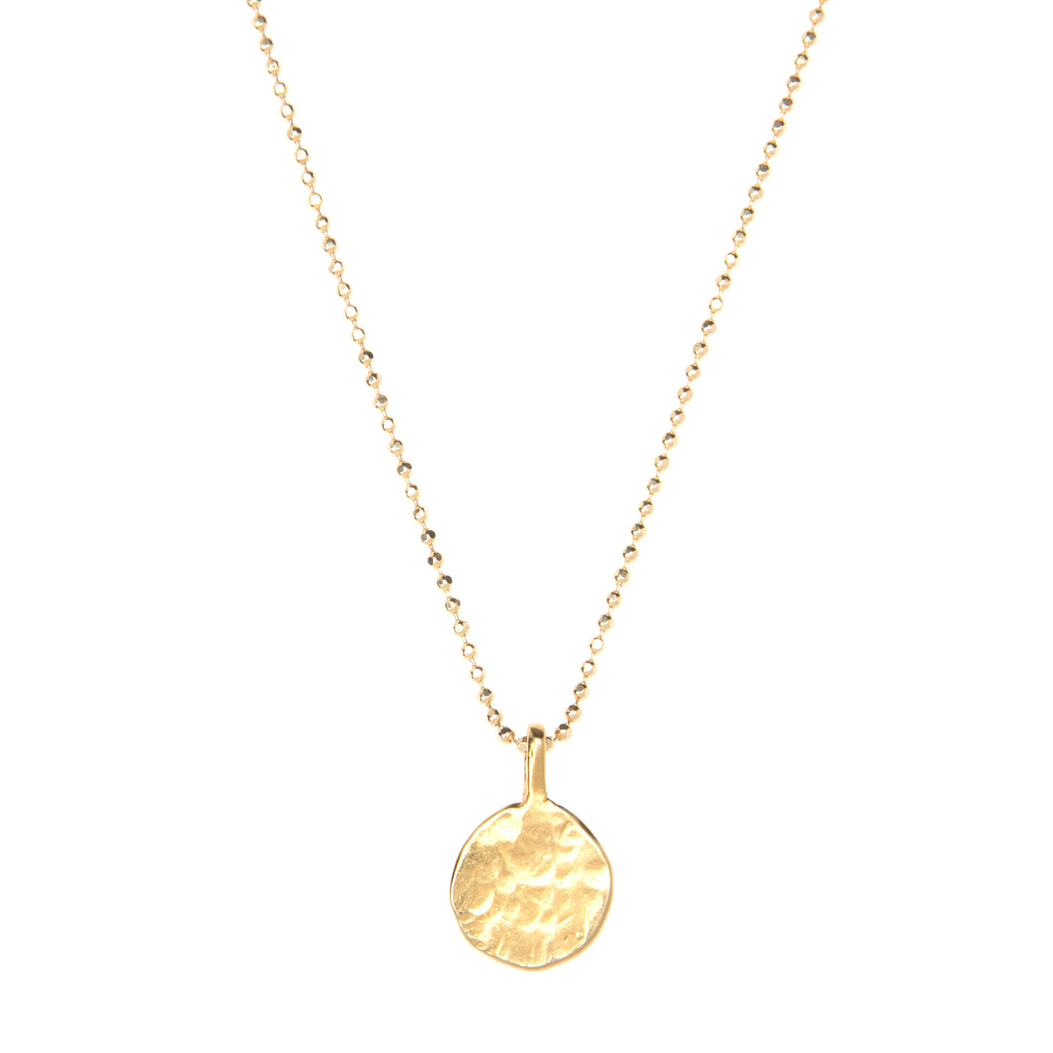 Gold Vermeil Hammered Disc Charm Necklace