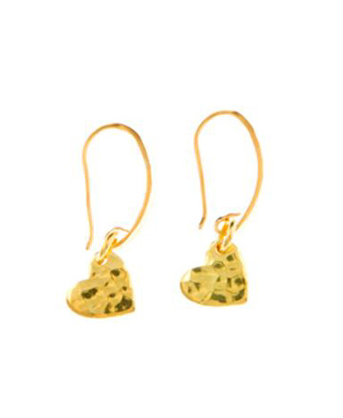 Gold Vermeil Hammered Heart Drop Earrings
