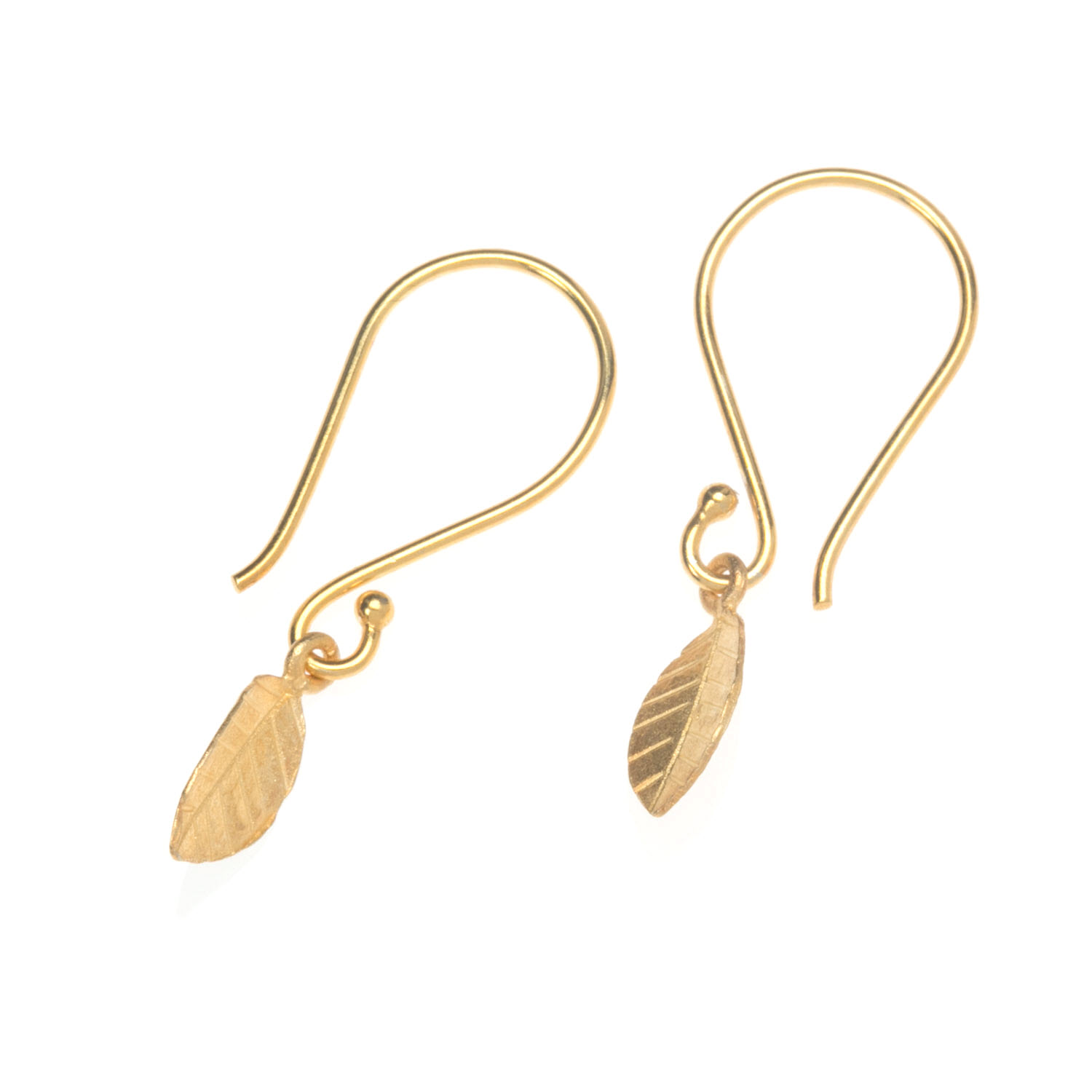 Gold Vermeil Leaf Charm Earrings