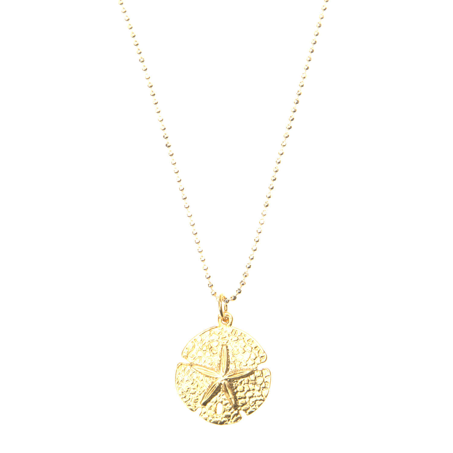 Gold Vermeil Diamond Cut Chain with Gold Vermeil Sand Dollar Charm Pendant