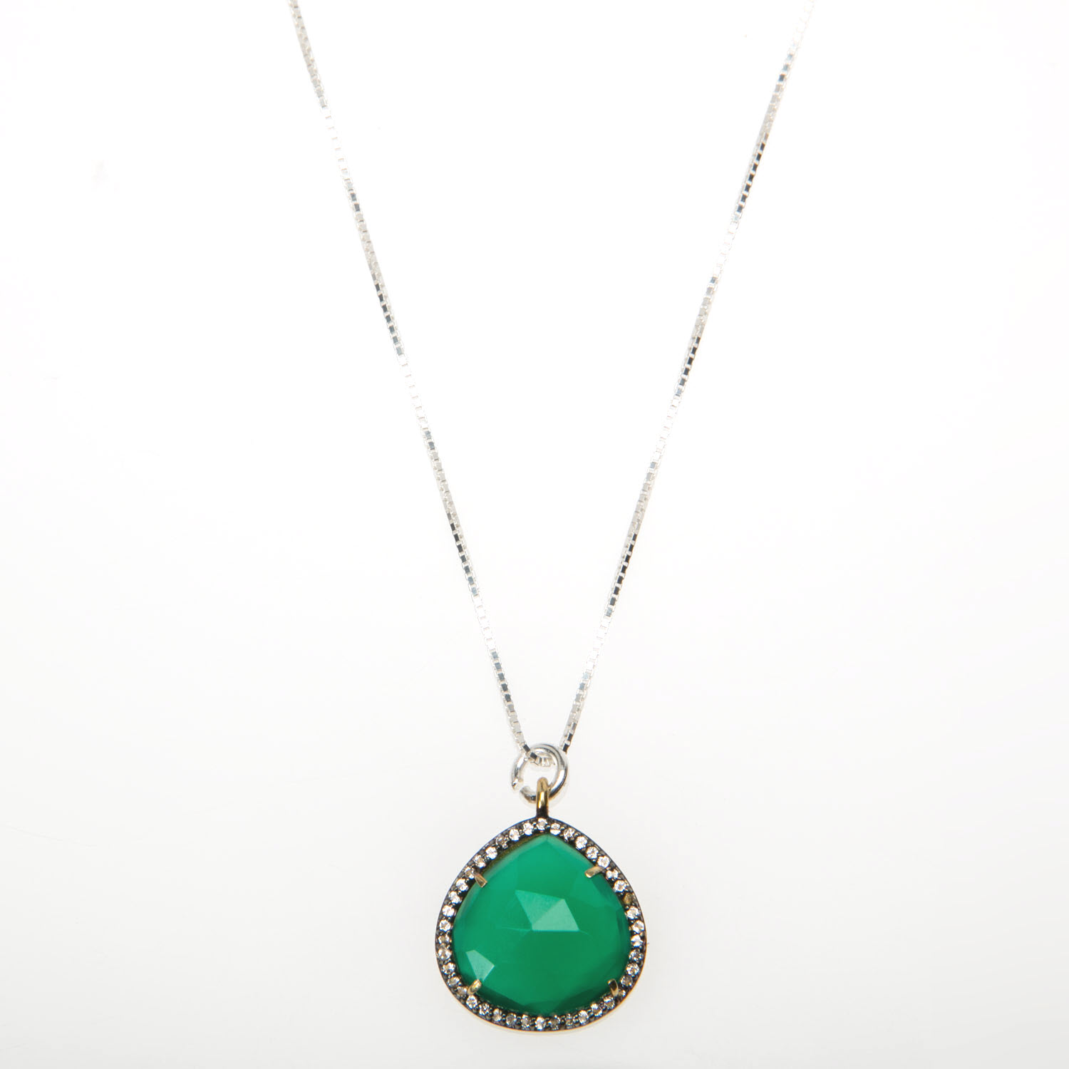 Green Oynx and White Topaz Pave Set Necklace