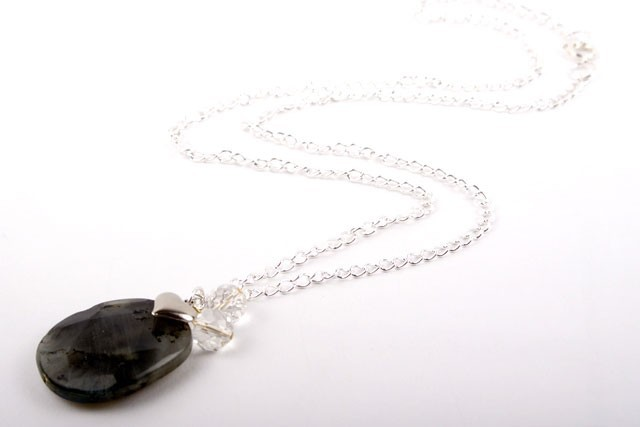 Labradorite and Crystal Heart Charm Necklace