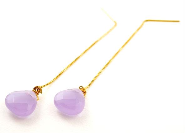 Lilac Quartz Gem Drop Earrings