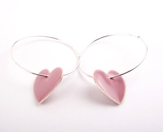 Lilac Heart  Charm Hoop Earrings