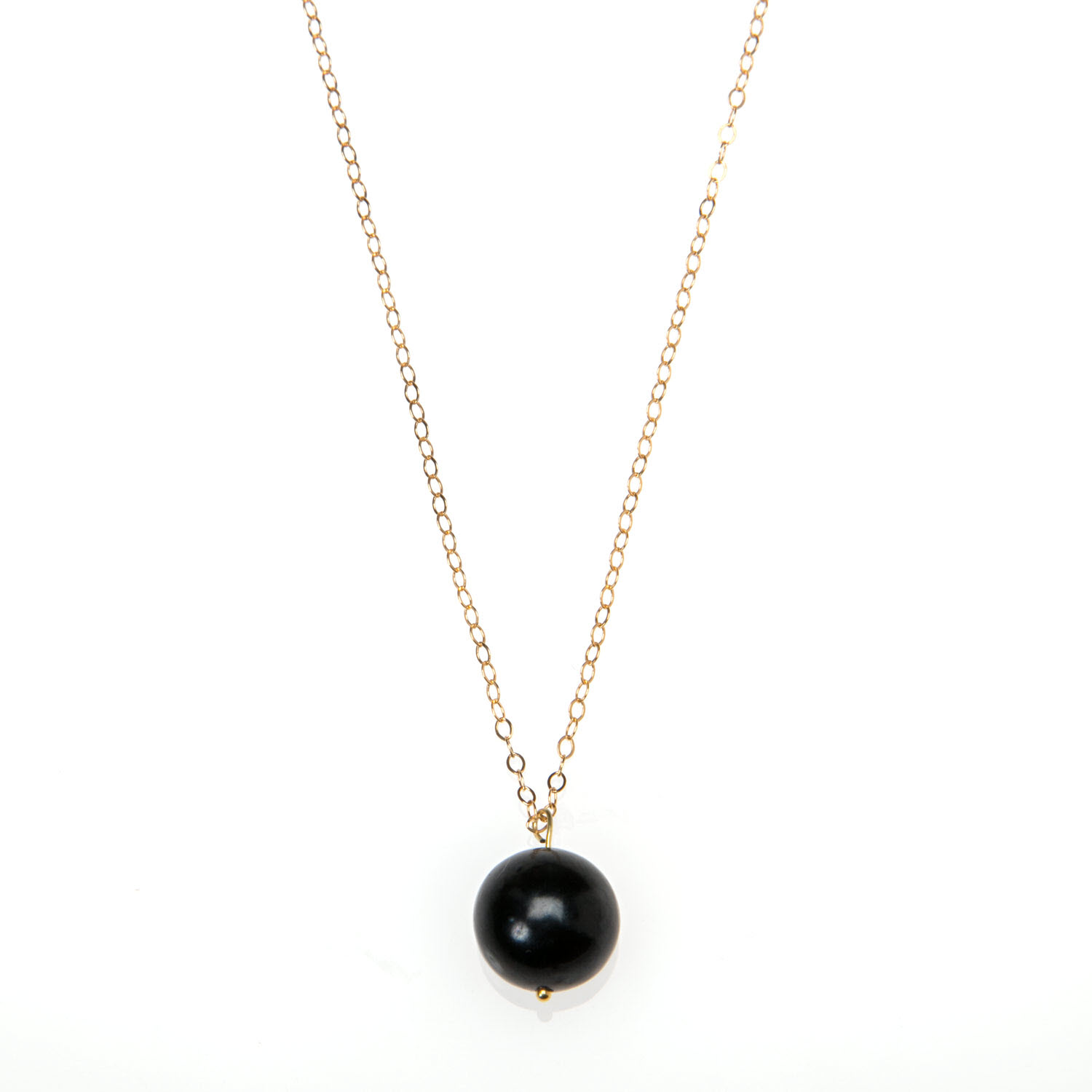 Large Black Pearl and Gold Vermeil Necklace