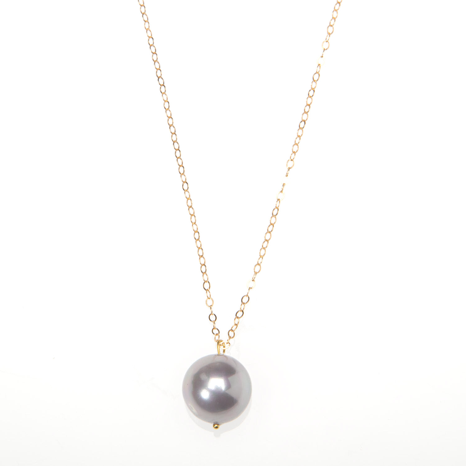 Large Light Grey Pearl and Gold Vermeil Necklace