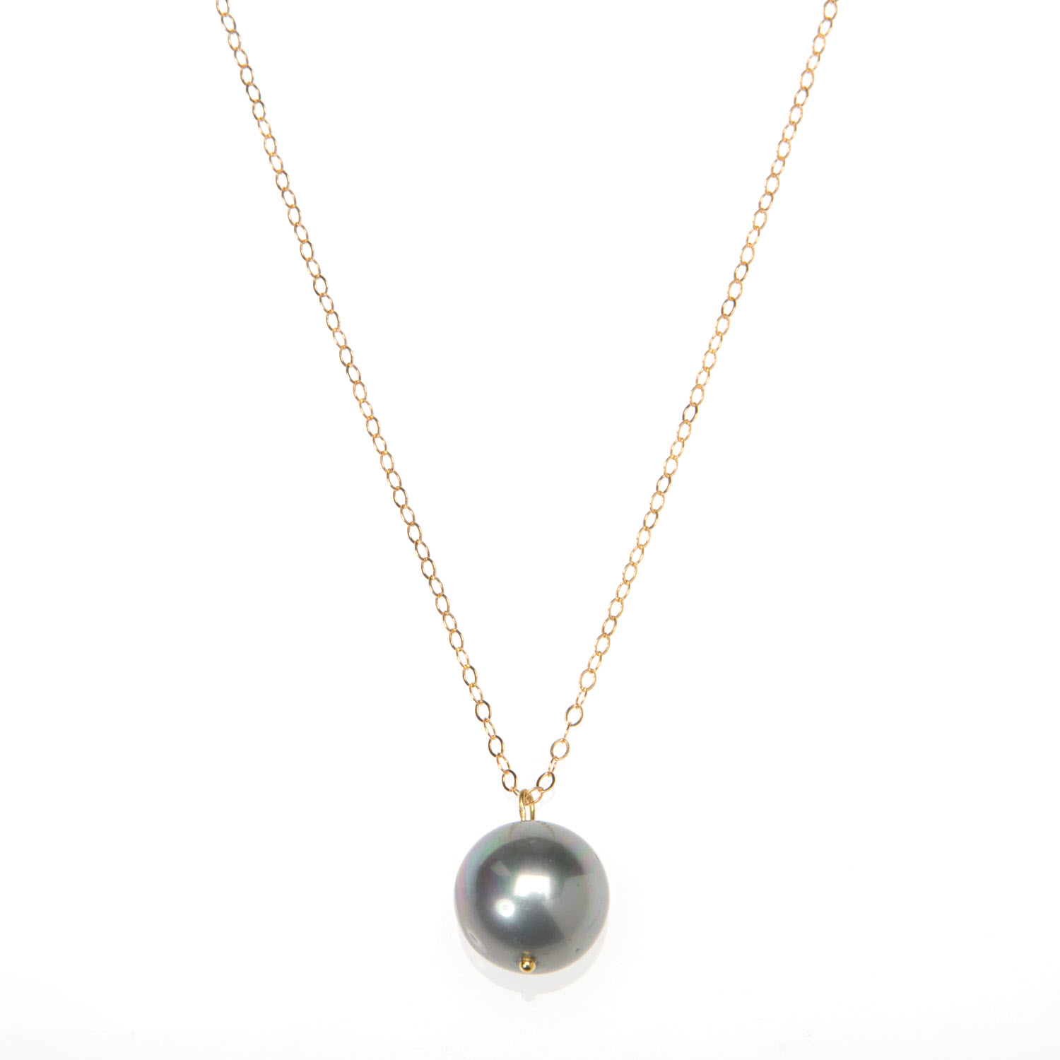 Large Dark Grey Pearl and Gold Vermeil Necklace