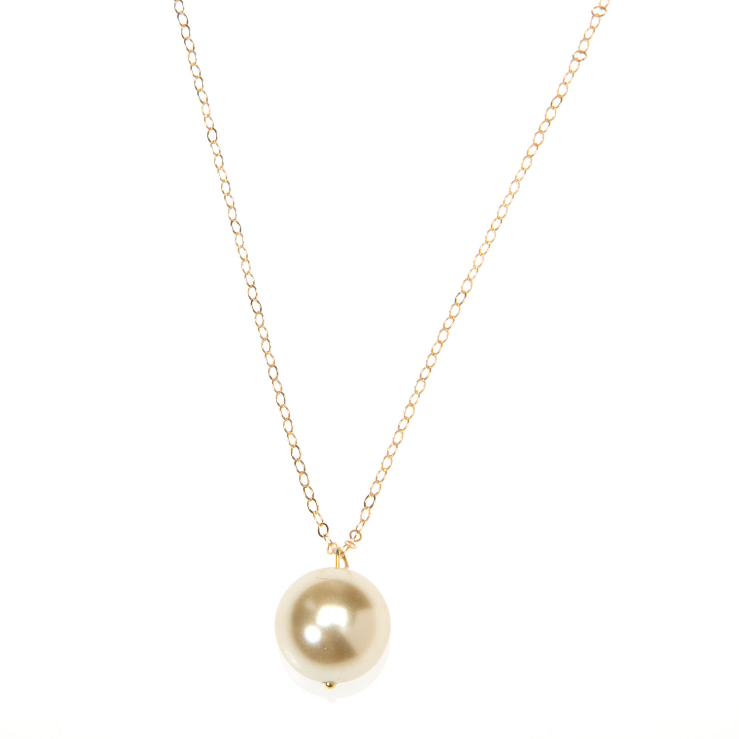 Large Creamy White Pearl and Gold Vermeil Necklace