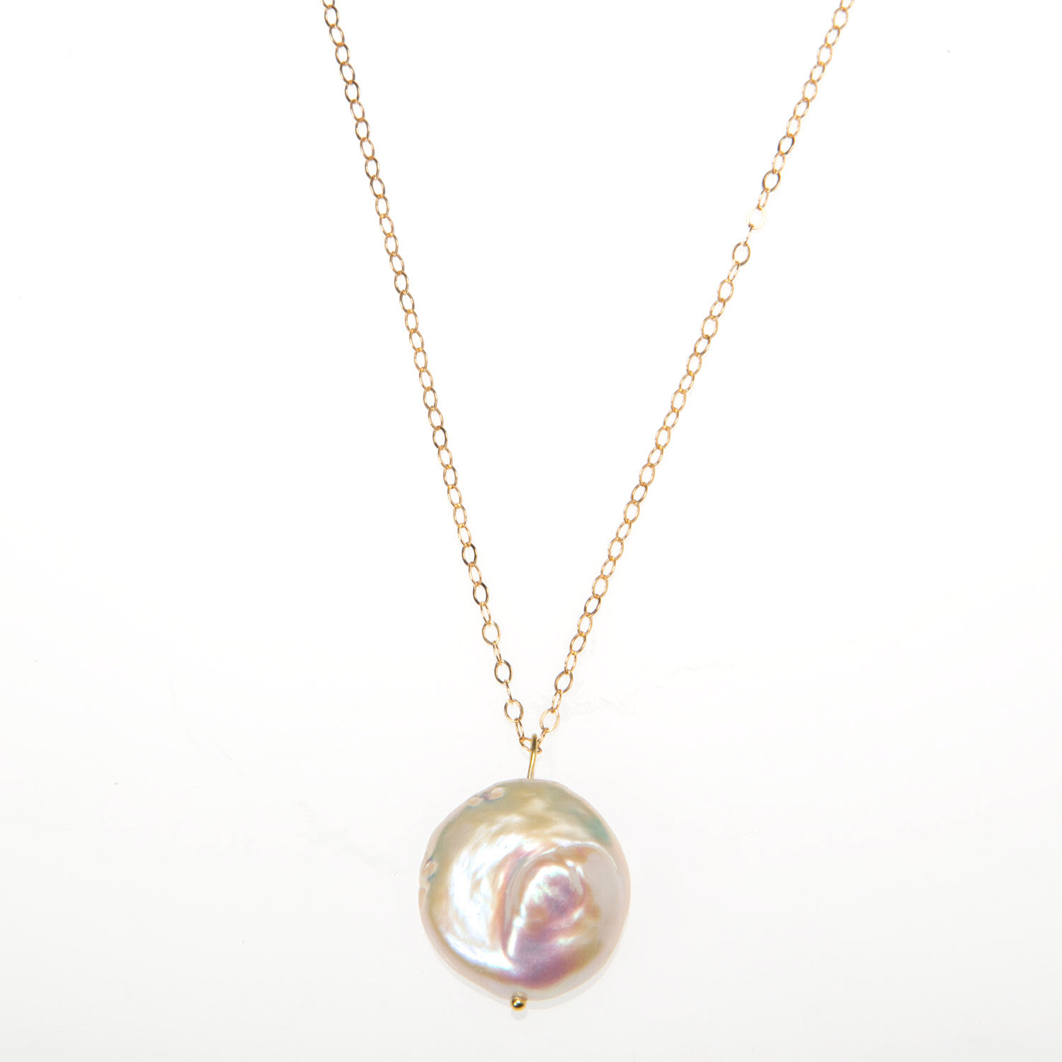 Luxe Coin Pearl Pendant on Gold Vermeil Chain