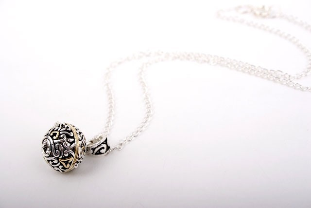 Silver and Gold Prayer Box Pendant Necklace