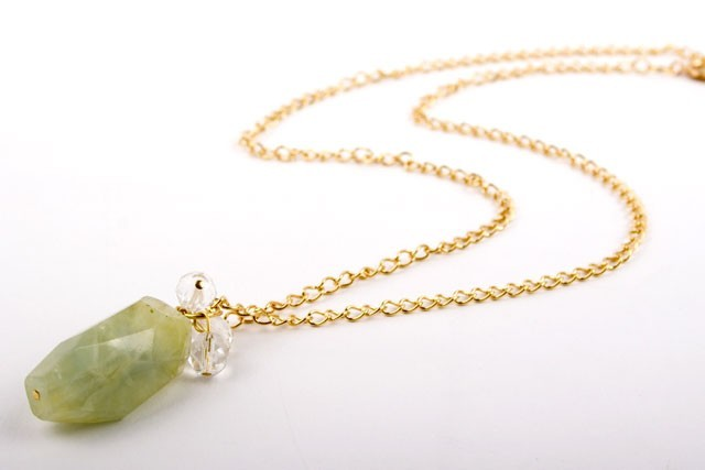 Faceted Prehnite Nugget Necklace with Crystal Beads