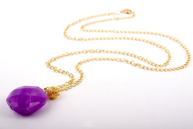 Faceted Purple Chalcedony Pendant Necklace