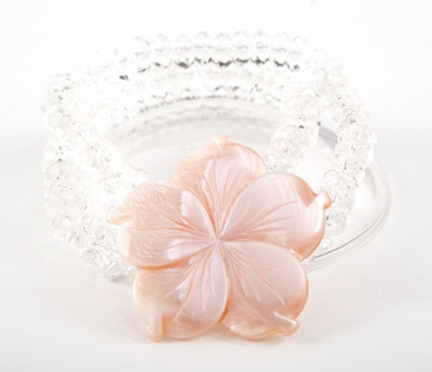 Rock Crystal and Pink Mother of Pearl Flower Bracelet