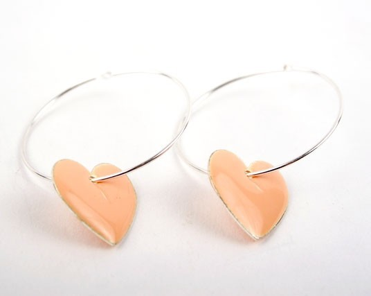 Pink Heart  Charm Hoop Earrings