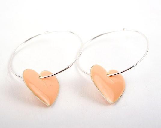 Pink Heart  Charm Hoop Earrings