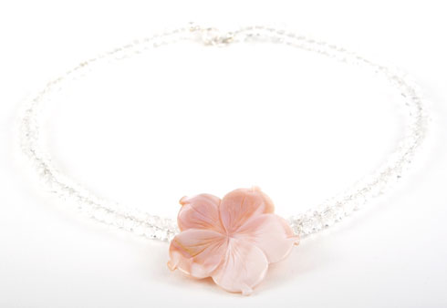 Pink Mother of Pearl Flower Crystal Necklace