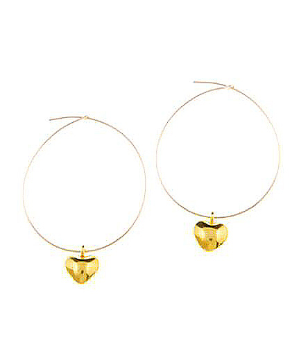 Gold Vermeil Puffed Heart Charm Hoop Earrings