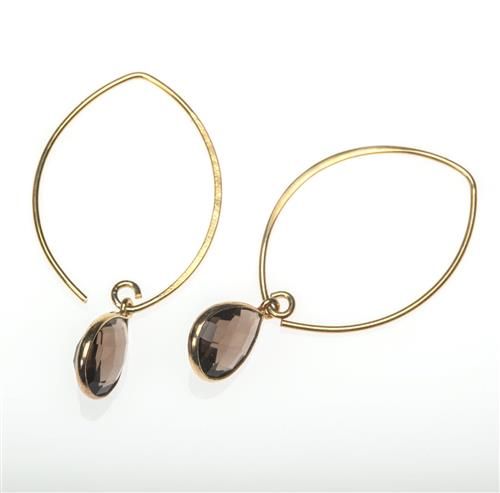 Gold Vermeil Smoky Quartz Drop Earrings