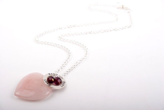 Rose Quartz and Silver Heart Charm Necklace