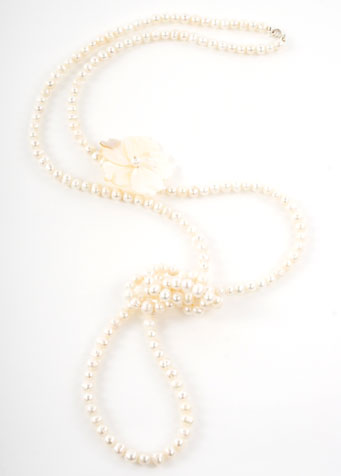 Freshwater Pearl and Mother of Pearl Flower Opera Necklace