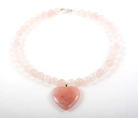 Rose Quartz Bead Heart Necklace