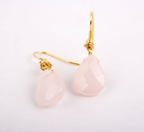 Rose Quartz Teardrop Earrings