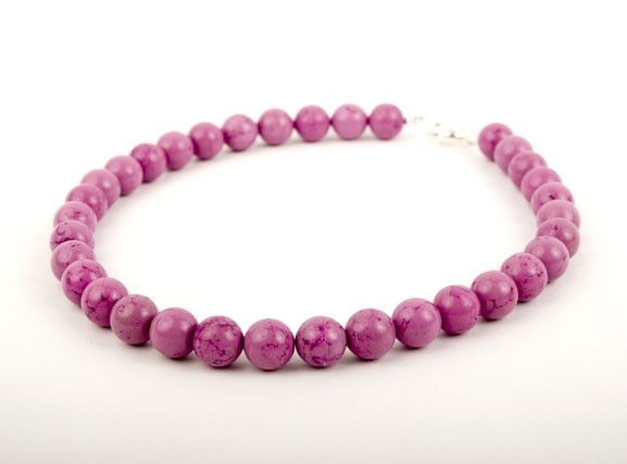 Fuschia Turquoise Beaded Necklace