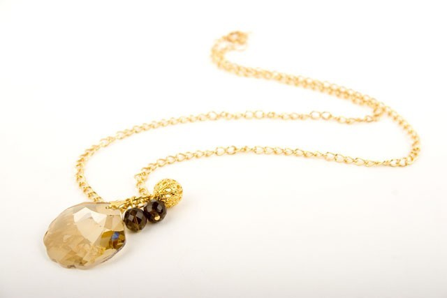 Swarovski Topaz Crystal Seashell Necklace