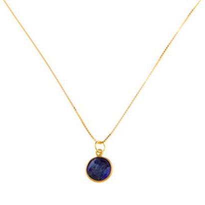 Blue Sapphire Pendant on Gold Vermeil Chain