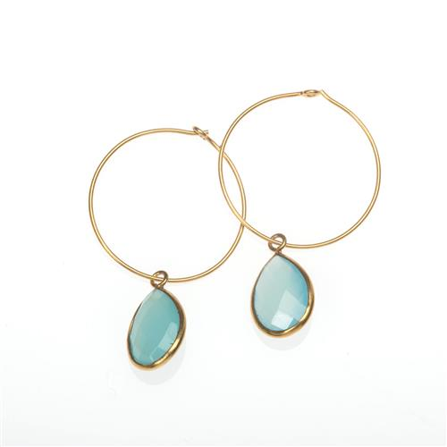 Gold Vermeil Blue Topaz Drop Earrings