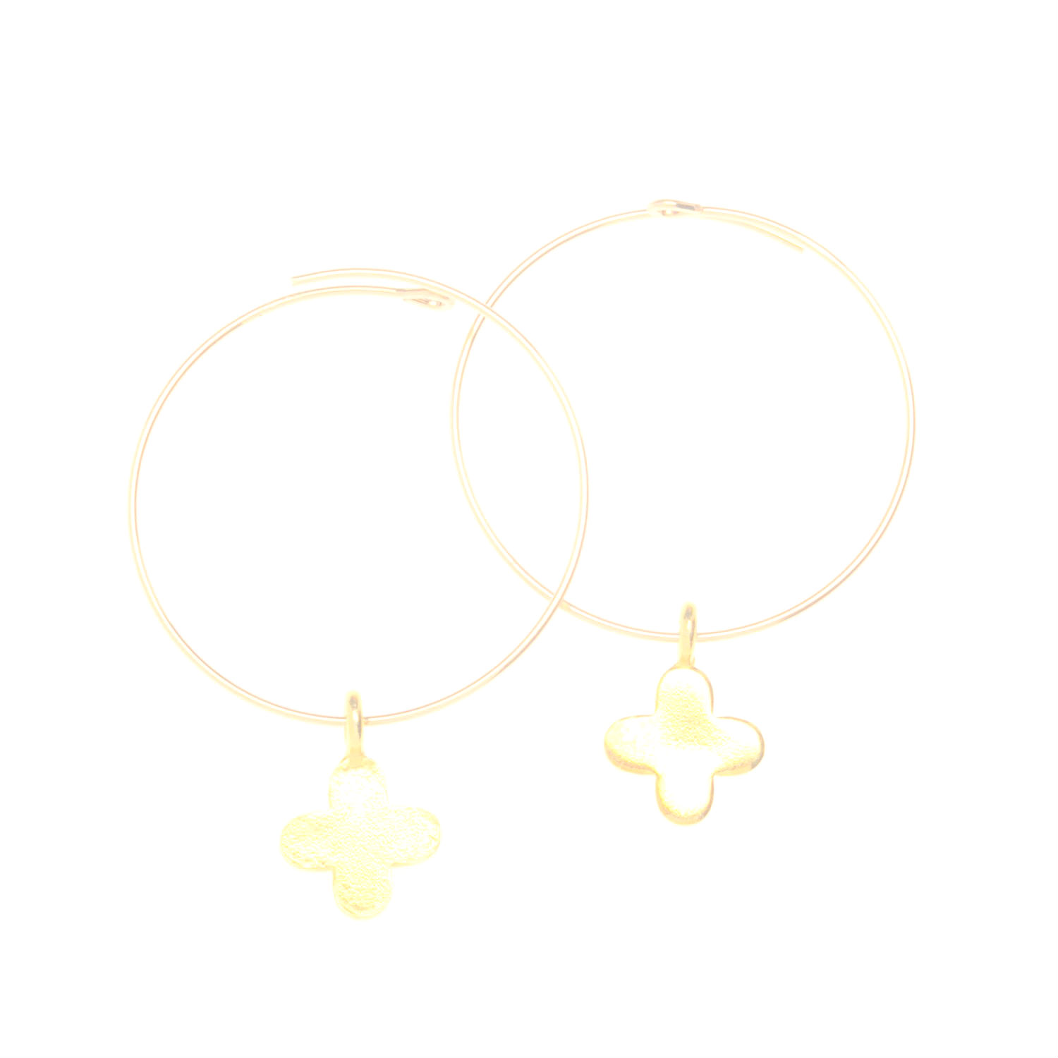 Small Gold Vermeil Cross Charm Hoop Earrings