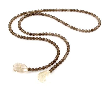 Smokey Quartz and Citrine Lariat Necklace