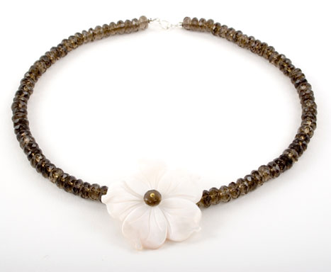 Smokey Quartz and Mother of Pearl Flower Necklace