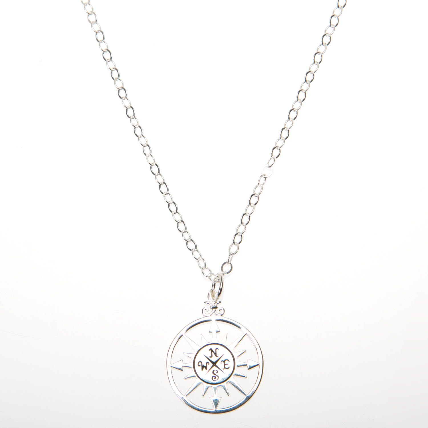 Sterling Silver Compass Pendant Necklace