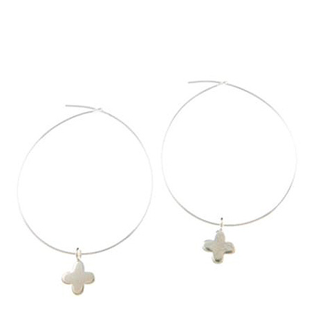 Sterling Silver Cross Charm Hoop Earrings