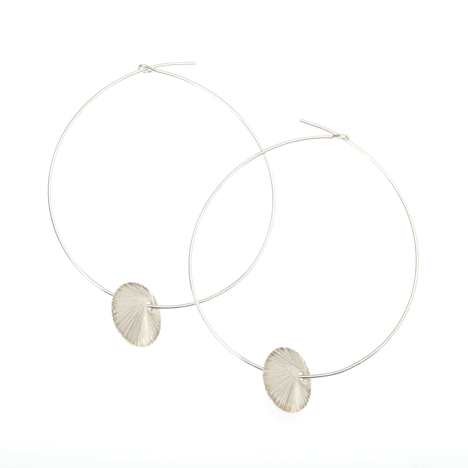 Sterling Silver Disc Charm Hoop Earrings