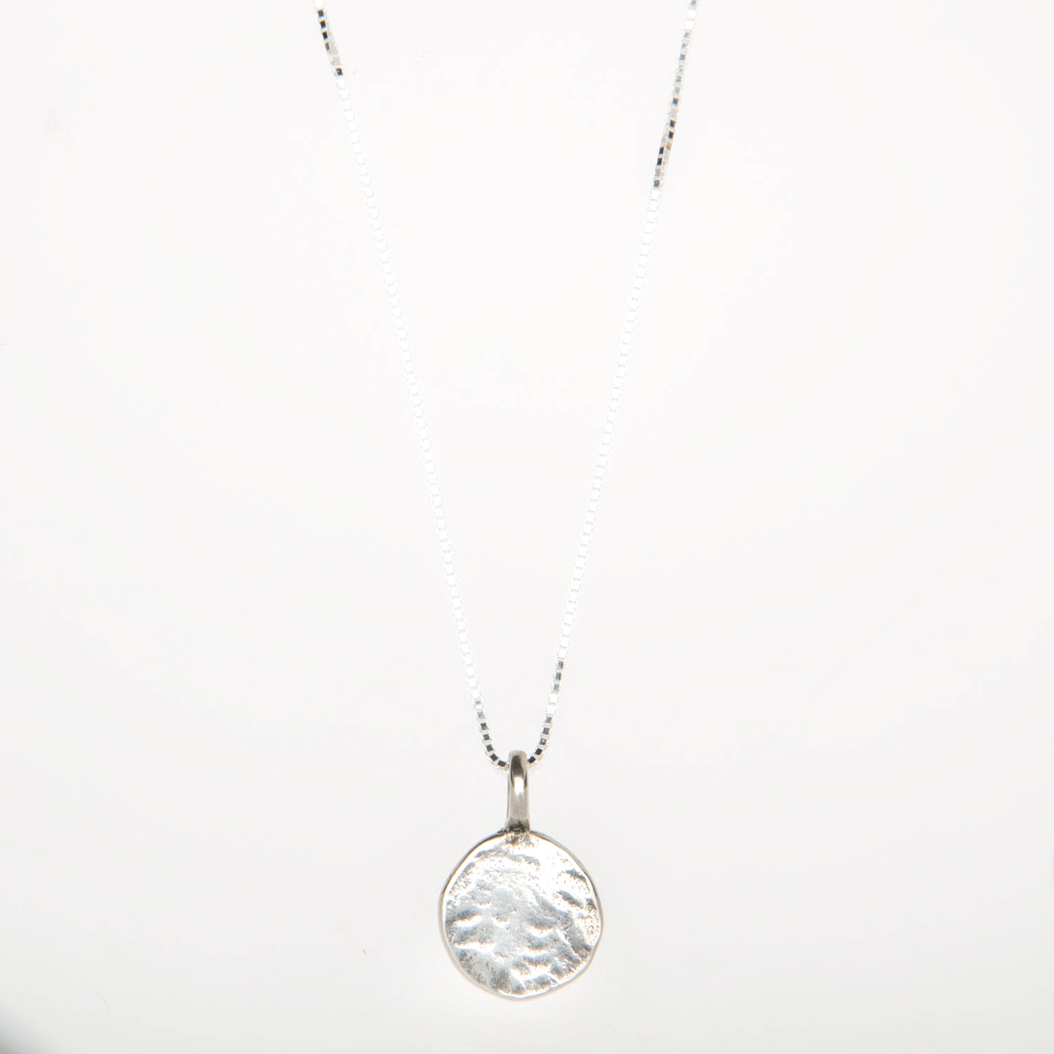Sterling Silver Hammered Disc Charm Necklace