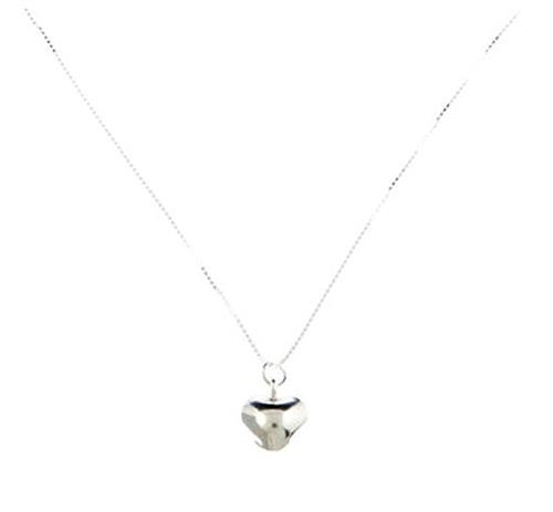 Brushed Sterling Silver Heart Pendant Necklace