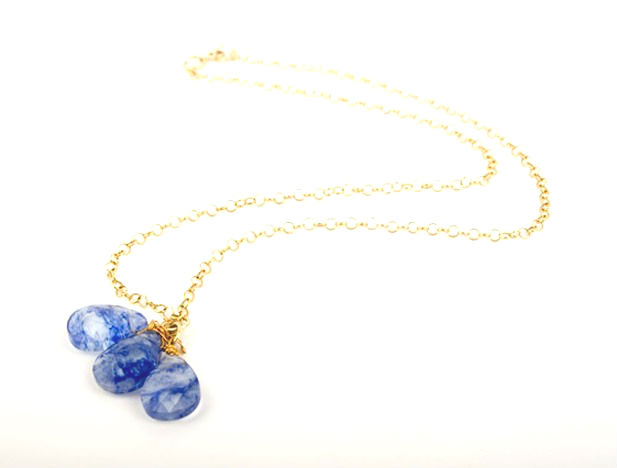 Tanzanite Quartz Gem Drop Necklace