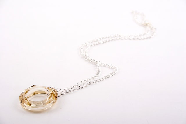 Topaz Swarovski Crystal Circle Pendant Necklace