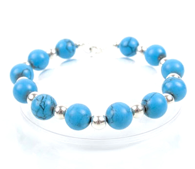 Turquoise Coral and Silver Bracelet