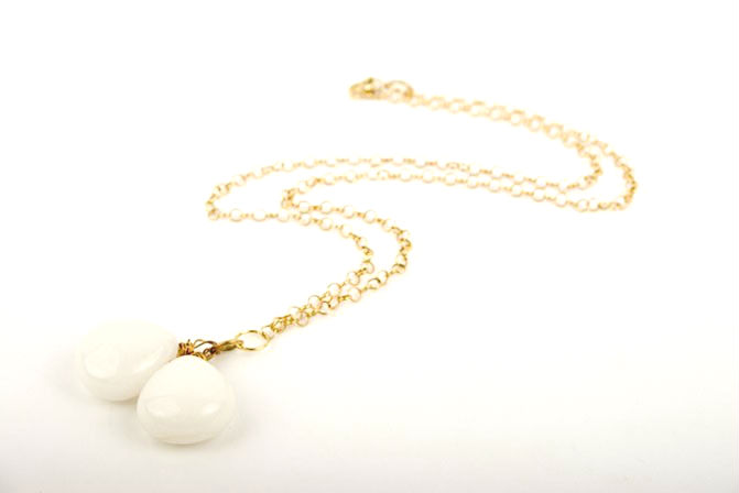 White Jade Gem Drop Pendant