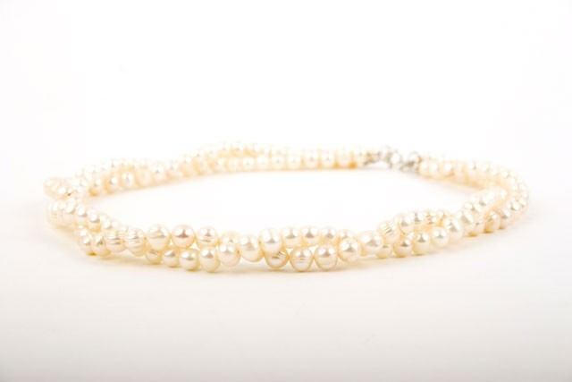 White Freshwater Pearl Twist Necklace