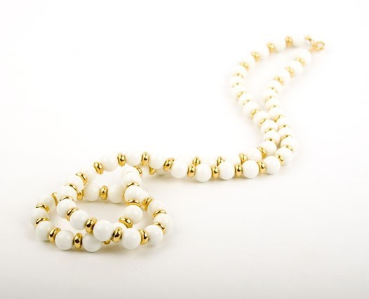 White Jade and Gold Bead Necklace