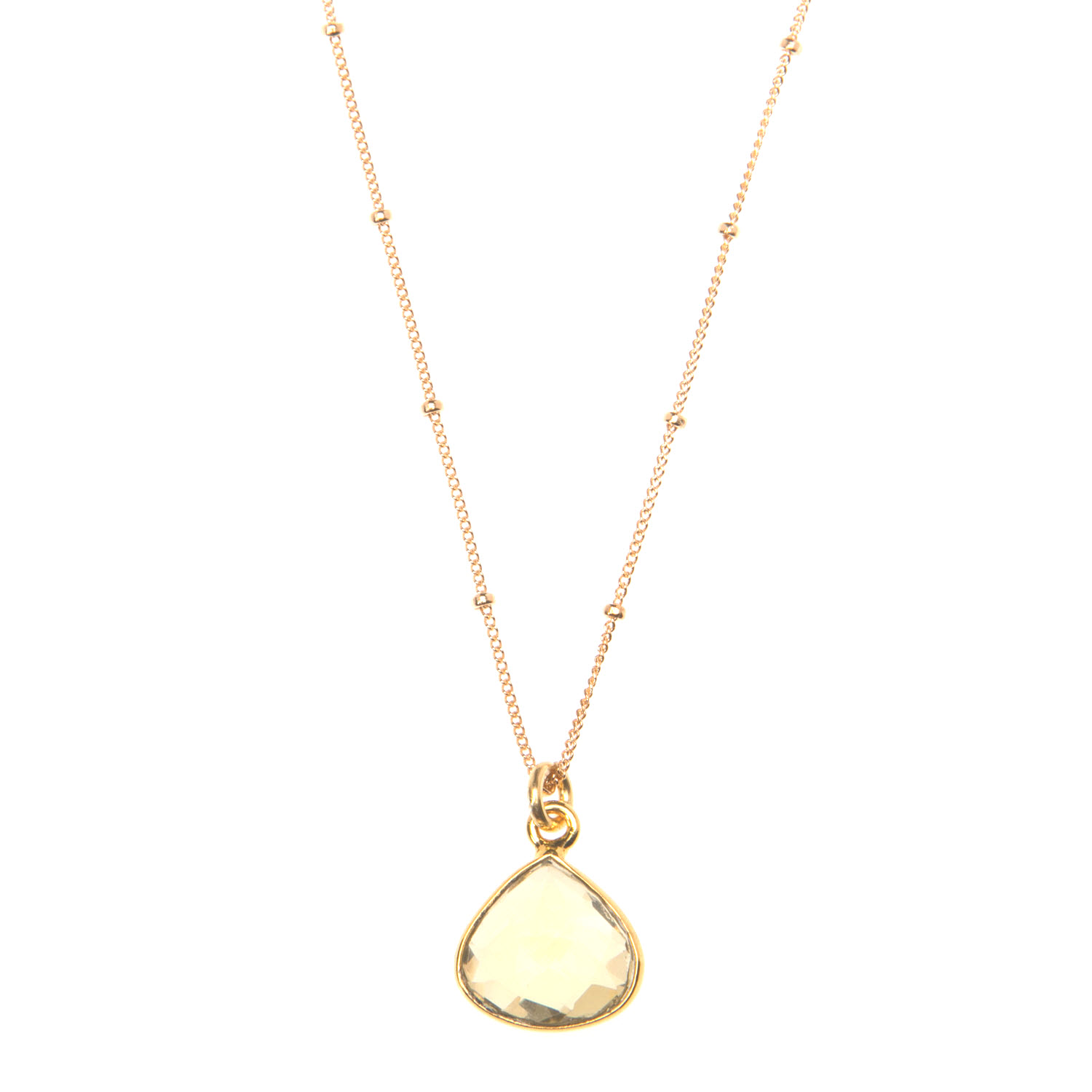 Diamond Cut Lemon Topaz Pendant on Gold Vermeil Satellite Chain